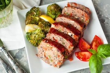 Vegetarian pate in shape of meatloaf