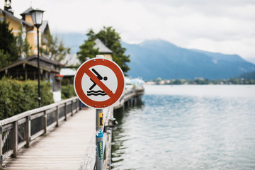No Diving sign on the lake