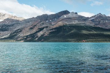 Clear pristine lake in the Canadian Rocky Mountains
