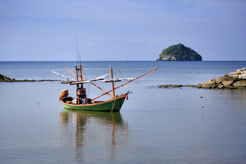 Beautiful beach with fishing boat at Prachuap Khiri Khan Province, Thailand
