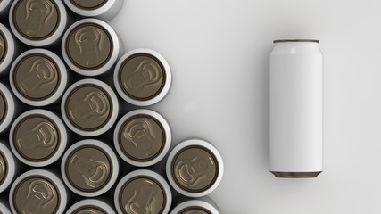 Big black soda cans on white background