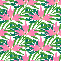 Vector seamless tropical pattern with white color at background, vivid tropic foliage, monstera leaf, palm leaves, bird of paradise flower, hibiscus in bloom. modern bright summer print design