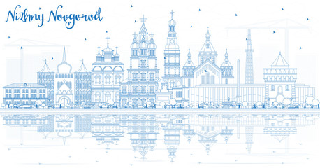 Outline Nizhny Novgorod Russia City Skyline with Blue Buildings and Reflections.