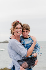 mother and son at the sea side and beach