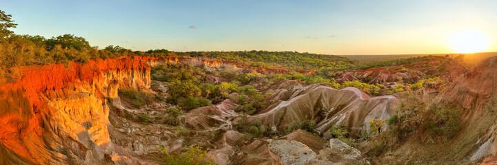 High resolution wide panorama of Marafa (Hell's Kitchen) canyon in sunset light. Malindi, Kenya Wall mural