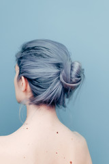 Delicate Pale Young Woman With Blue Hair