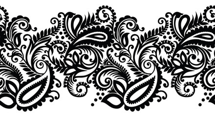 Seamless black and white paisley border