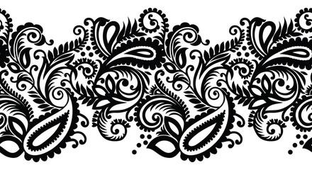 Seamless black and white paisley border