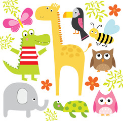 cute animal collection design