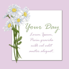 Daisy Bouquet on Pink Background with Square Card for Text Space on White. Chamomile Bunch Decorated Card for Prints, Invitations, Cards, Announcements, Advertising, Posters and other Printable.