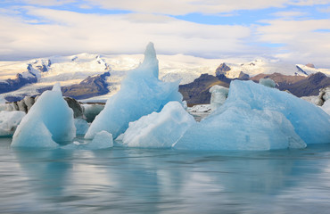 Wonderful view of glacial lake Jokulsarlon, Iceland