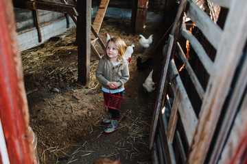 Toddler siblings going into a chicken coop to collect eggs.