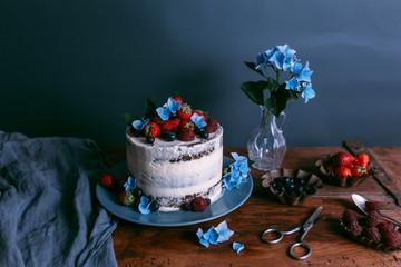 berry cake still life