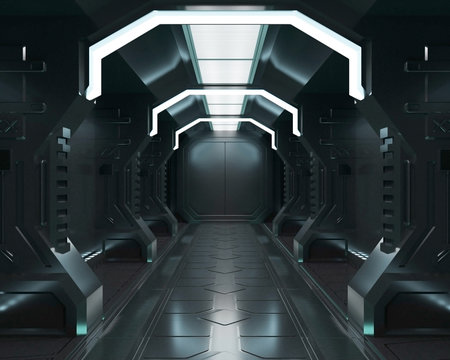 3D rendering elements of this image furnished ,Spaceship black interior with view,tunnel,corridor