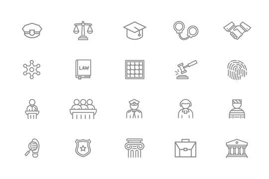 Set of vector crime, law, police and justice line icons. Sheriff star badge, jury, defendant, judge, officer, cop, prisoner, bandit, fingerprint, prison cell, auction hammer, libra, handcuffs, column