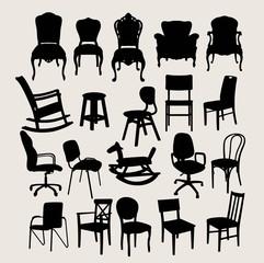 Chair Set Design in Silhouette, art vector design