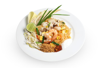 Pad Thai with shrimp isolated on white background, Thai style noodles