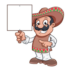 Mexican man is holding a blank billboard