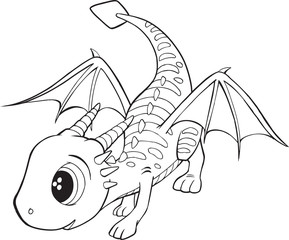 Tuinposter Cartoon draw Cute Dragon Vector Illustration Art