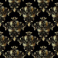 Gold vintage damask seamless pattern.