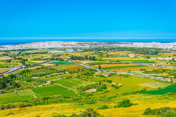 Countryside on Malta with Mosta town