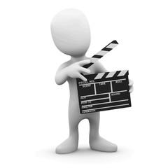 Vector 3d Little man makes a movie