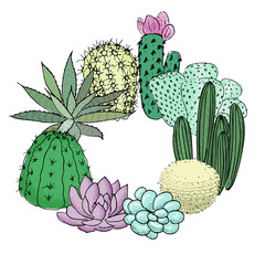 Succulent cactus set roundelay. Place for text. agave, aloe, gastraea, echeveria, Pachyphytum,