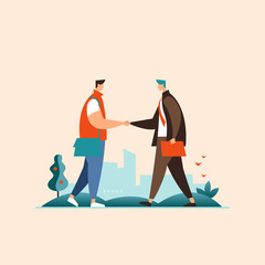 Meeting two businessmen and business handshake