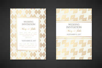 Concentric rhombuses decorations. Wedding invitation templates.