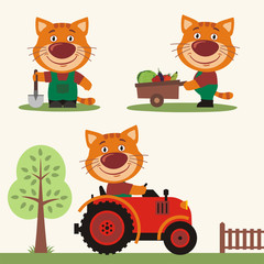 Set of funny kitten cat farmer with shovel, with wheelbarrow with vegetables, in farm tractor. Collection of kitten cat is working on the farm.