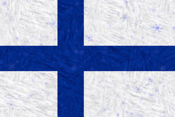 Illustration of a Finnish Flag with winter motives