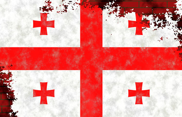 Illustration of a Georgian Flag, imitation of a painting on the old wall with cracks