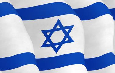 Illustration of a flying Israeli Flag