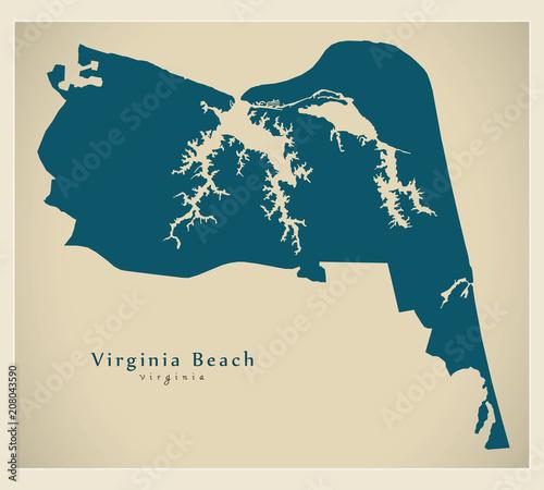 Modern City Map - Virginia Beach VA city of the USA\