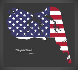 Virginia Beach VA map with American national flag illustration