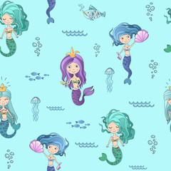 Vector hand drawing cute little mermaid princess seamless pattern background.