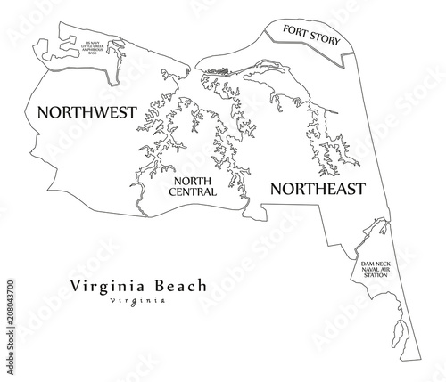 Outline Map Of Virginia.Modern City Map Virginia Beach Va City Of The Usa With