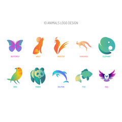 Animals Logo Design | with golden ratio technique and gradient color