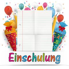 Einschulung Blatt Papier mit Zuckertüten, Stiften, Buchstaben und Luftballons