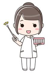 歯磨き指導をする女性 全身 正面