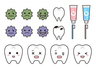 歯と虫歯と歯磨きのパーツセット