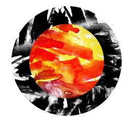 Watercolor abstract spot of red, black, orange and yellow. Fire on a white background. Beautiful watercolor flames. A circular abstract spot.