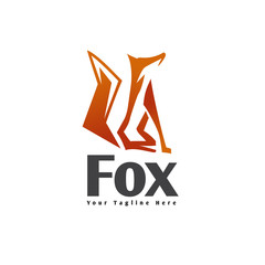 Abstract stand up fox logo