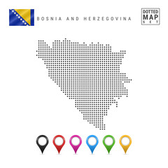 Vector Dotted Map of Bosnia and Herzegovina. Bosnia and Herzegovina Silhouette. Bosnia and Herzegovina Flag. Map Markers