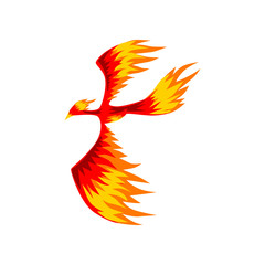 Phoenix, flaming firebird flying vector Illustration on a white background