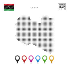 Vector Dotted Map of Libya. Simple Silhouette of Libya. The National Flag of Libya. Set of Multicolored Map Markers