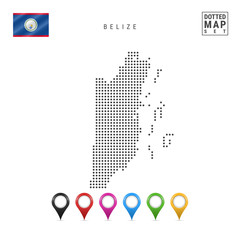 Vector Dotted Map of Belize. Simple Silhouette of Belize. The National Flag of Belize. Set of Multicolored Map Markers