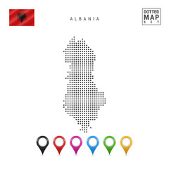 Vector Dotted Map of Albania. Simple Silhouette of Albania. National Flag of Albania. Set of Multicolored Map Markers