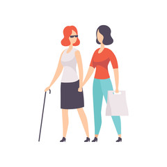 Blind girl and her friend supporting her, disabled person lifestyle and adaptation concept vector Illustration on a white background
