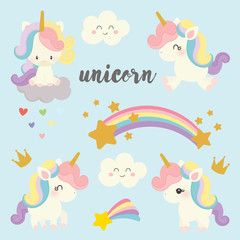 set of cute unicorn vector.